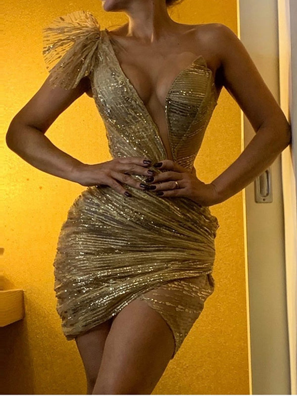 Sexy Deep V Gold Irregular Pleated Slim bodycon Dress