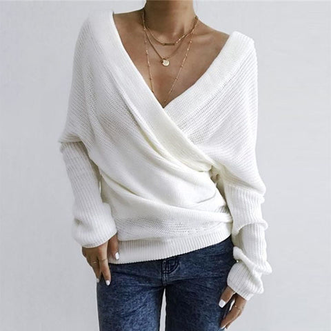 Women's elegant V-neck solid color knitwear