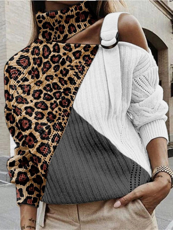 Fashion Pile Collar Strapless Leopard Stitching Knit Sweater