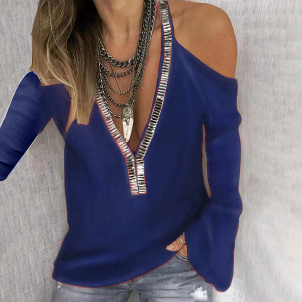 Solid Color V-Neck Sequined Long-Sleeved T-Shirt Sweater