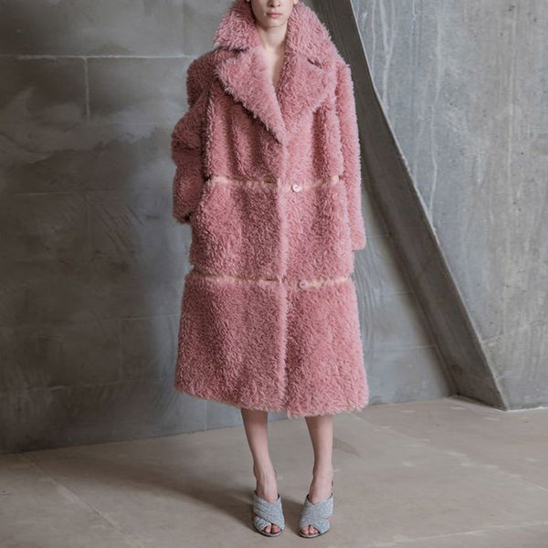 Stylish Lapel Stripst Fluff Coat