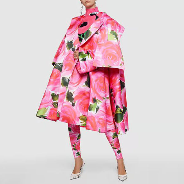 Fashion Individuality Floral Pattern Mid-Length Coat