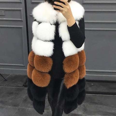Fashion and leisure stitching sleeveless coat