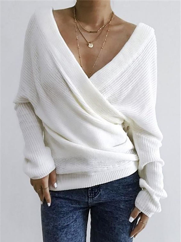 Women's elegant V-neck solid color knitwear Sweater