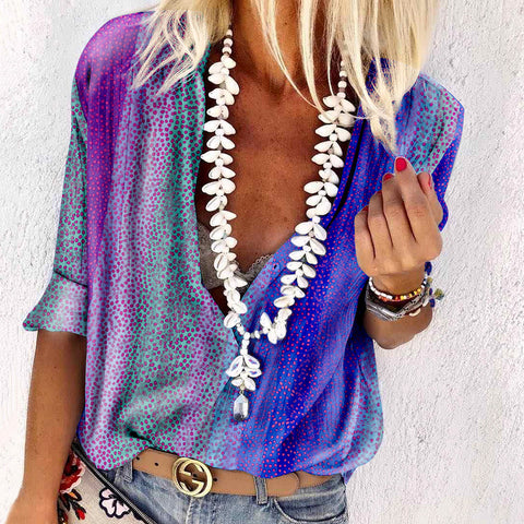 Women's Fashion V-neck Printed Colour Blouse