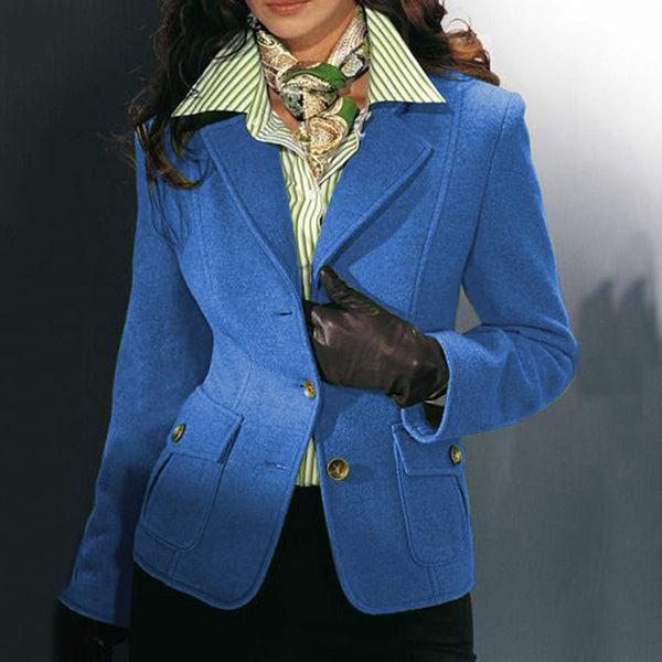 Fashion Lapel Single Breasted Solid Coat Jacket