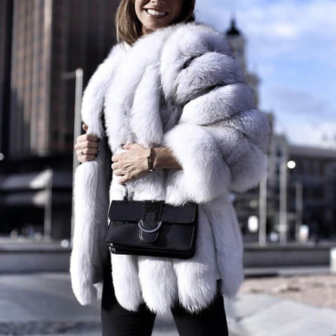 Women's Solid Color Faux Fur Coat