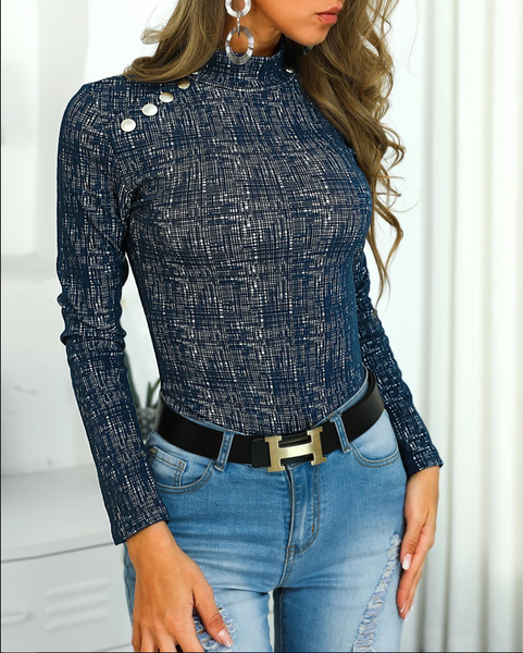 Casual Button Up Long Sleeve T-Shirt