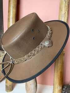 Tan Leather Bush Hat Large