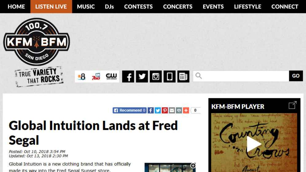 Global Intuition Lands at Fred Segal KFM-BFM