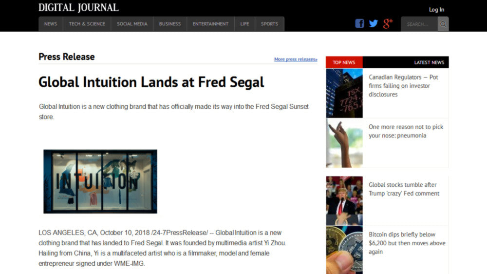 Global Intuition Lands at Fred Segal Digital Journal