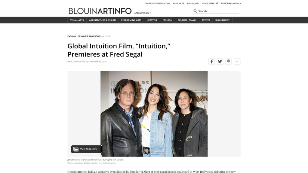 "Global Intuition Film, ""Intuition,"" Premieres at Fred Segal _ BLOUIN ART"