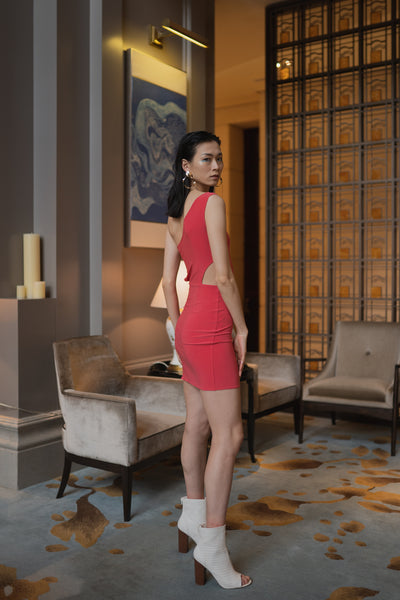 ONE SHOULDER OPEN CUT COCKTAIL DRESS