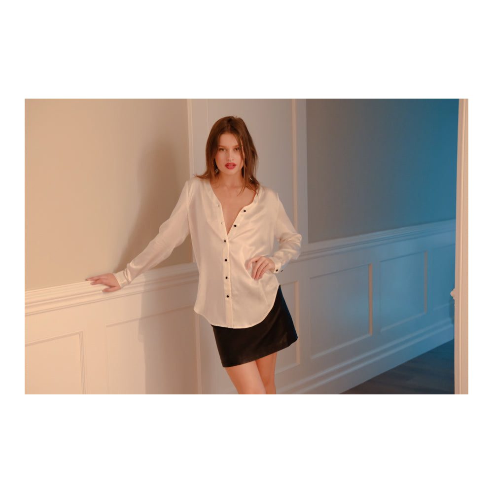 Intuition Slim Fit White Silk Blouse