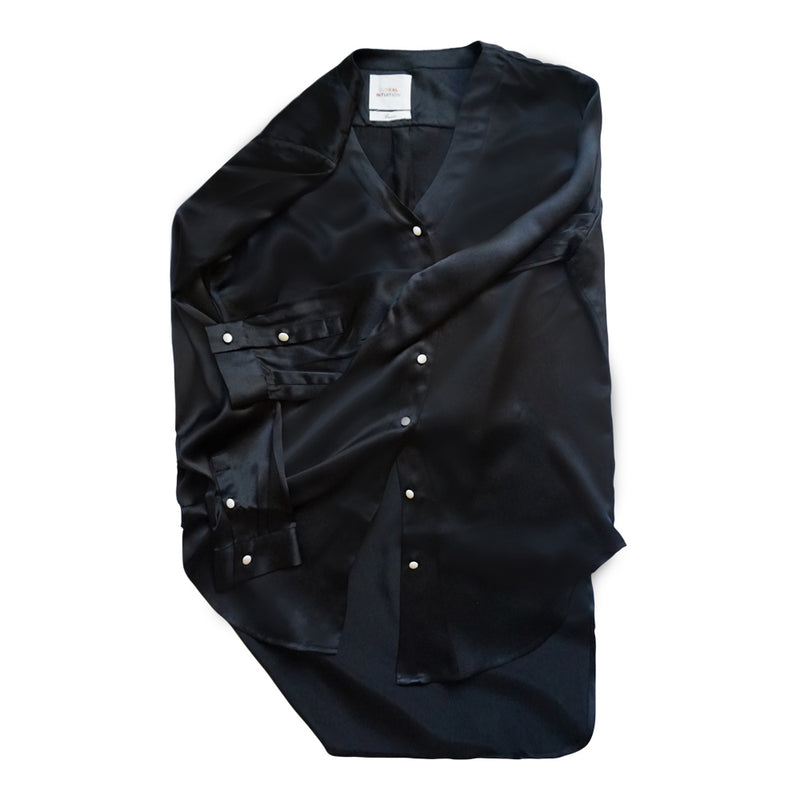 INTUITION SLIM FIT BLACK SILK BLOUSE