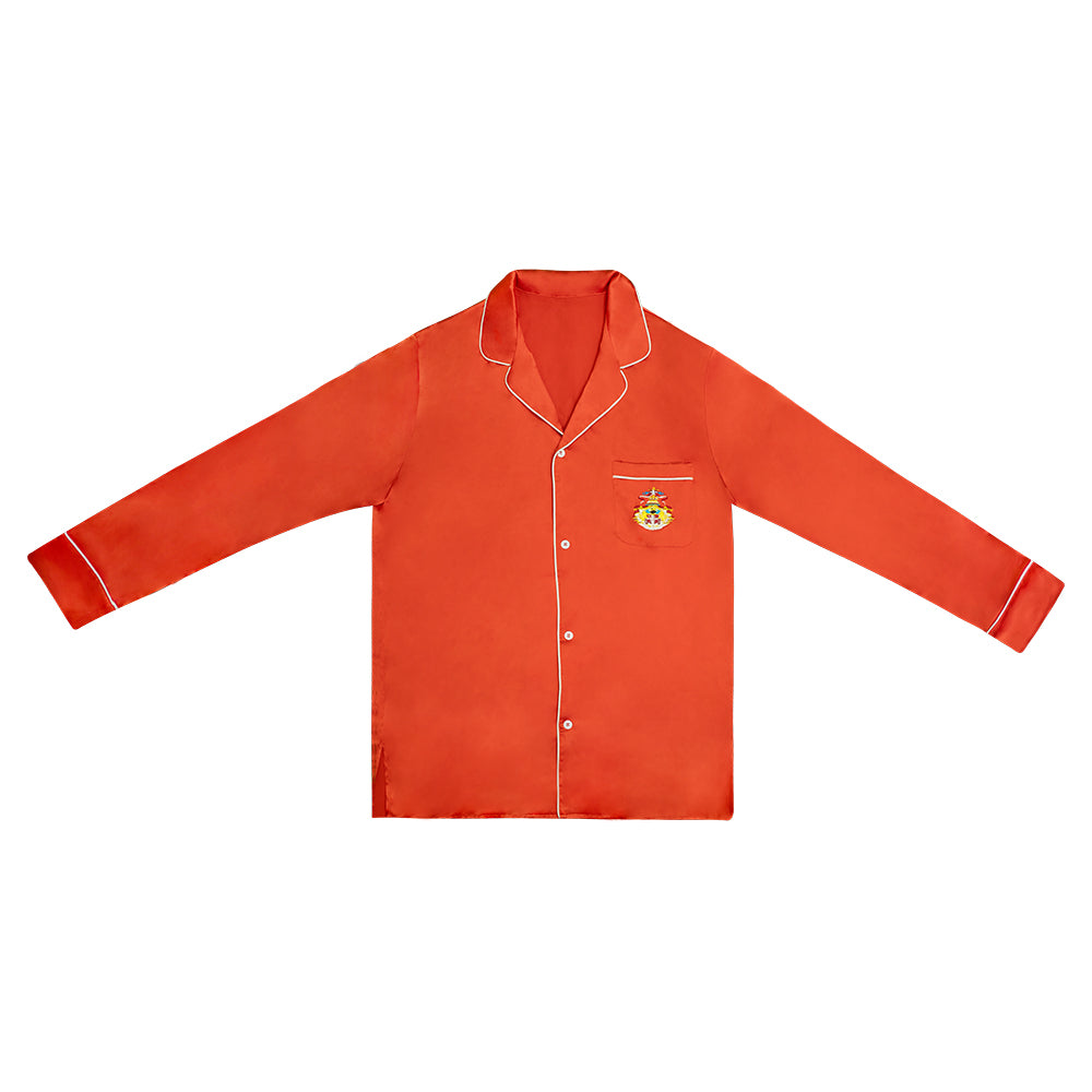 """EMBLEM"" EMBROIDERED ORANGE SILK BUTTON DOWN"
