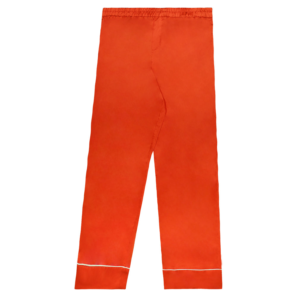 """EMBLEM"" EMBROIDERED ORANGE SILK TROUSERS"