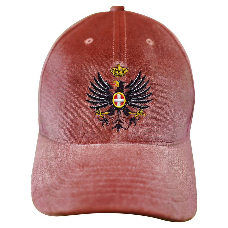"""Eagle and Crown"" Embroidered Cap in Rose Velvet"