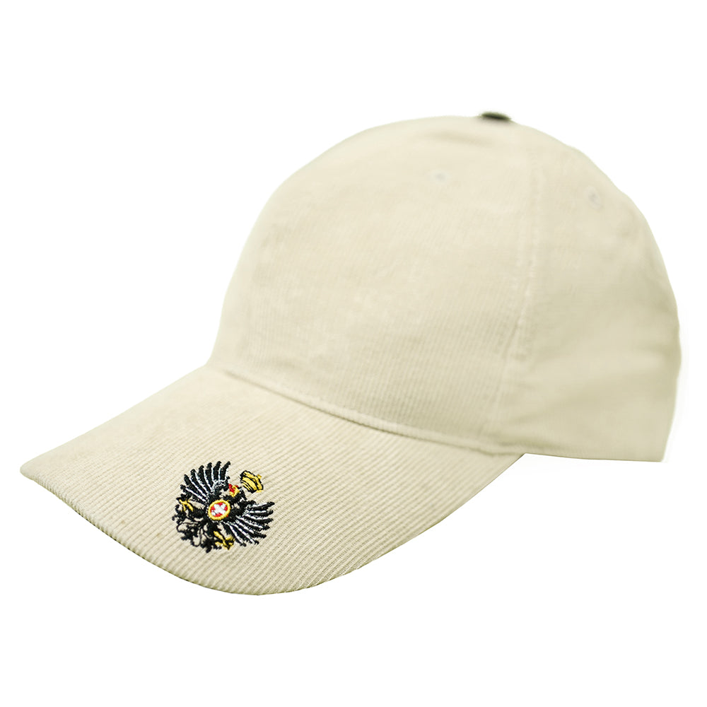 """Eagle and Crown"" Embroidered Cap in Cream Corduroy"