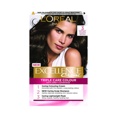 L'Oreal Paris Excellence Creme Advanced Triple Care Creme Permanent Colour [Darkest Brown 3]