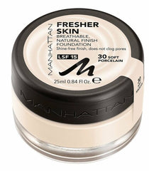 Manhattan Fresher Skin Foundation SPF15 25ml Choose from 4 Shades[30 Soft Porcelain]