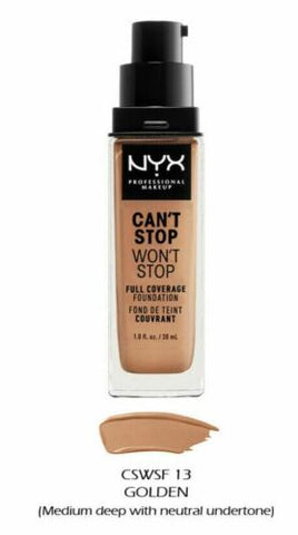 NYX Professional Makeup - 'Can't Stop Won't Stop' Full Coverage Liquid Foundation 30ml Golden Honey