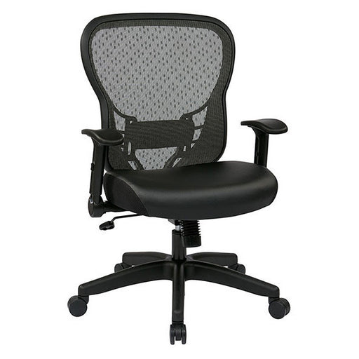 Adjustable Flip Arm Leather Ergonomic Task Chair