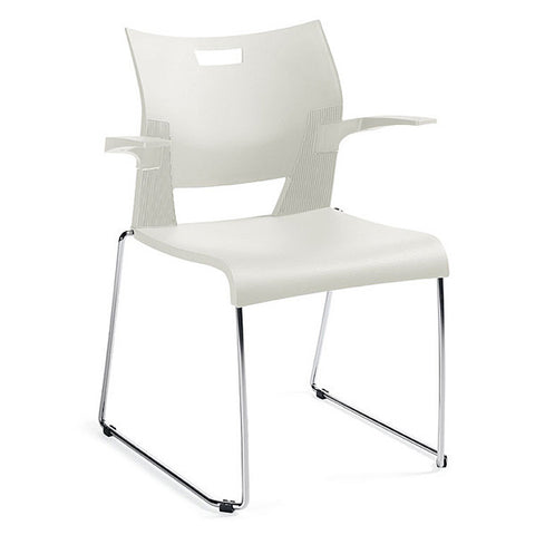Duet Stacking Chair with Arms Shown In 3 Day Quick Ship Color Ivory Clouds