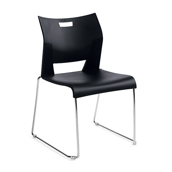 Duet Armless Stacking Chair Shown In 3 Day Quick Ship Color Asphalt Night
