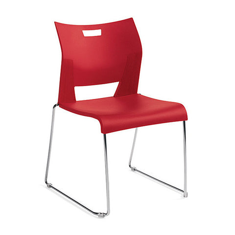 Duet Armless Stacking Chair Shown In Lip Smacker Color