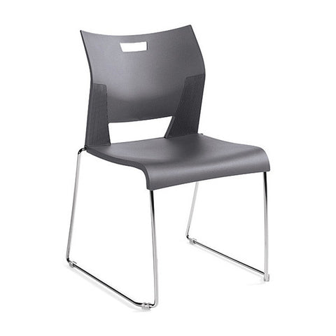Duet Armless Stacking Chair Shown In 3 Day Quick Ship Color Platinum