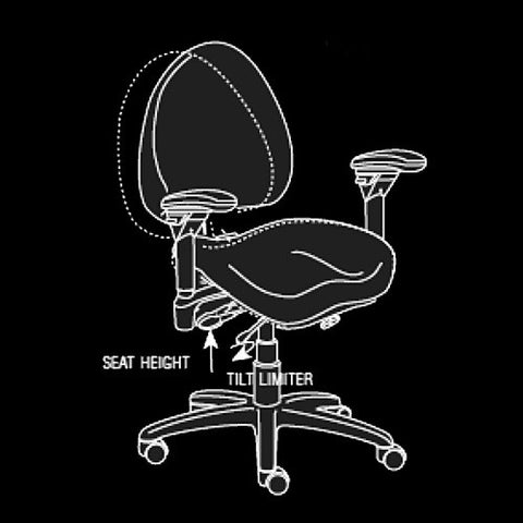 BodyBilt High-Back Executive Task Chair's Seat Height & Tilt Limiter Levers In Easy Reach Too