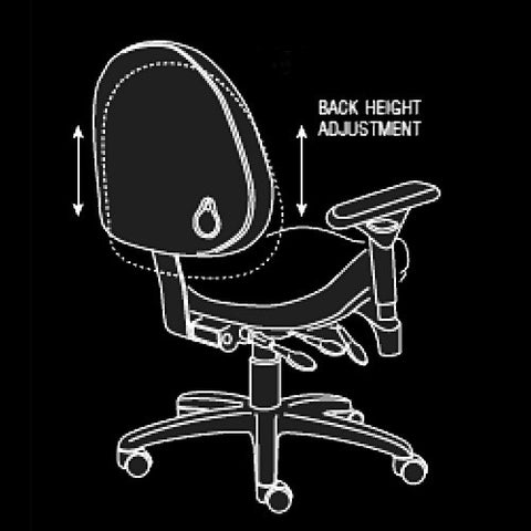 BodyBilt High-Back Executive Task Chair's Back Height Adjusts Easily