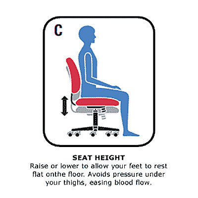 Seat Height Adjustable to Allow Feet to rest Flat on Floor
