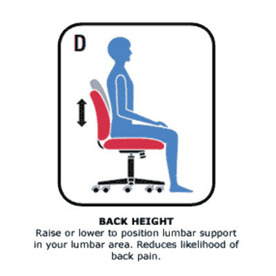 Back Height Adjustment to Position Lumbar Support in Back's Lumbar Area