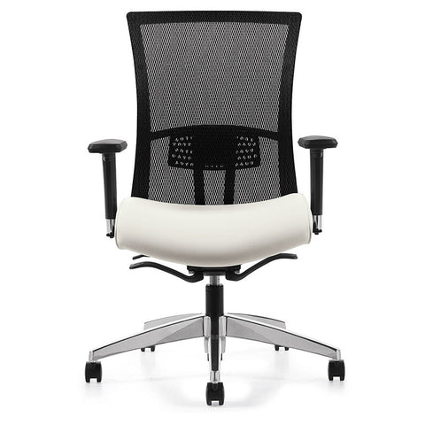 Vion Ergo Task Chair Shown in White Smooth Vinyl Seat Cushion with Optional Polished Aluminum Base & Chrome Arm Structure