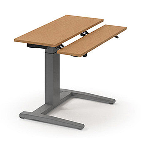 Sit/Stand Electric Desk Shown with Fruitwood Top & Tungsten Base