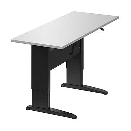 Manual Sit/Stand Height Adjustable Desk Shown with White Top