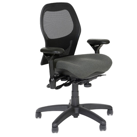 BodyBilt J2607 Mesh Back Task Chair Shown in Comfortek Fabric Color: Steel