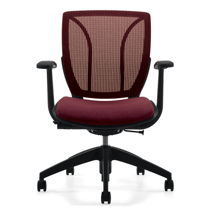 Roma Medium Mesh Back Office Chair Shown in Burgundy