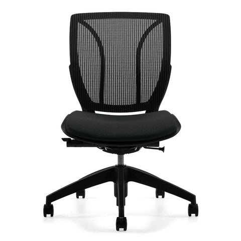 Armless Roma Medium Mesh Back Office Chair Shown in Black