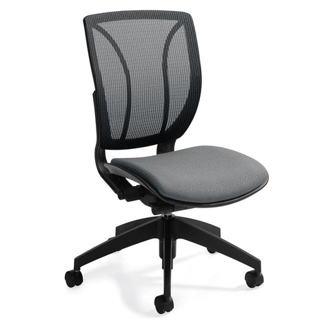 Armless Roma Medium Mesh Back Office Chair Shown in Grey