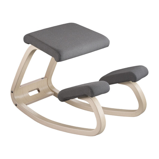Variable Balans Kneeling Chair Shown in Grey Fabric & Natural Frame