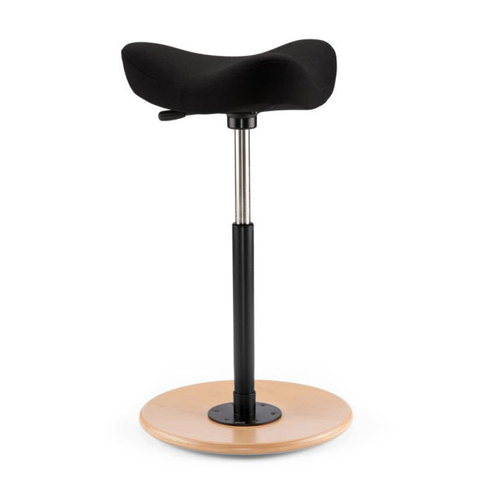 Move Stool Shown with Black Fabric & Natural Wood Base