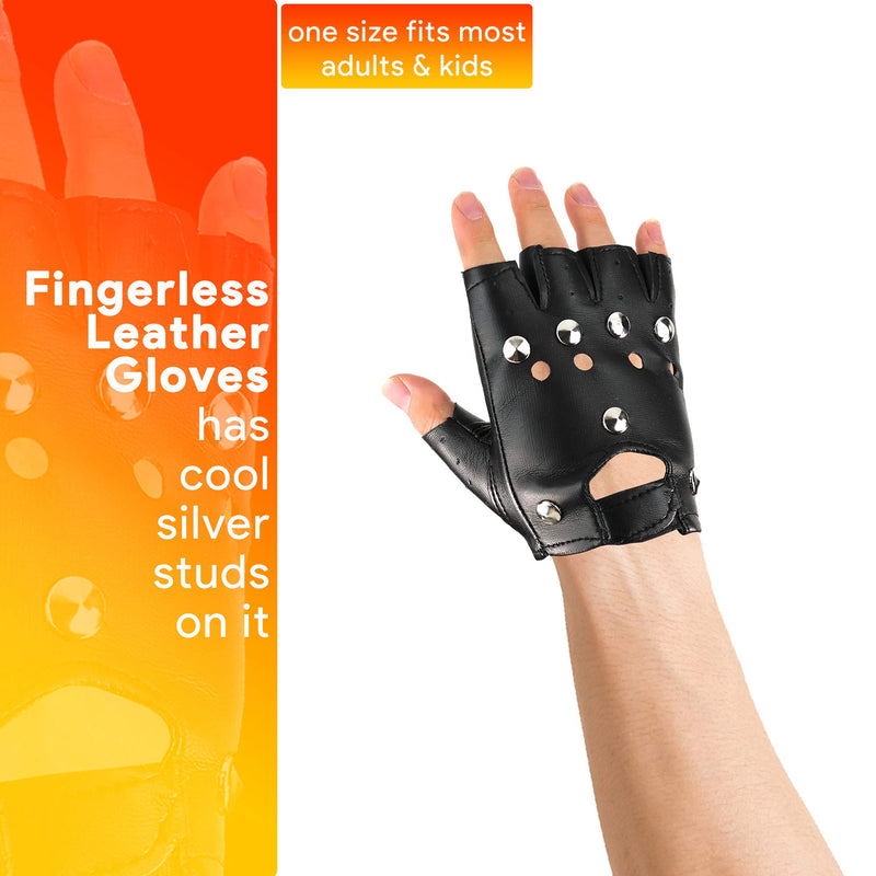 Gothic Fingerless Biker Gloves - 80s Style Black Leather Punk Biker Gloves with Studs for Men Women and Kids