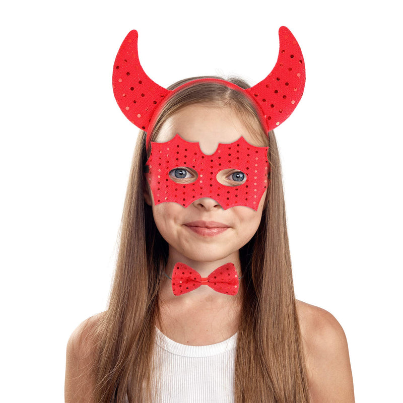 Devil Costume Accessory Set - Demon Costume Accessories Kit Includes Headband Horns, Mask and Bowtie