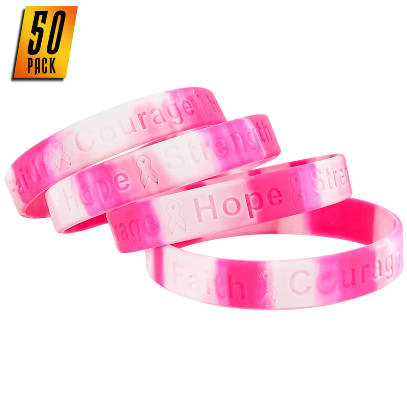 Breast Cancer Awareness Bracelets - Pink Ribbon Camouflage Silicone Rubber Cancer Support Bulk Party Giveaways Favors - Lot of 50
