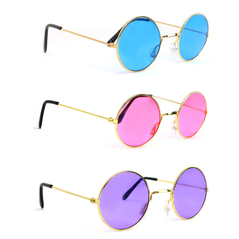 Tinted Round Hippie Glasses Pink Purple and Blue 60's Style Hipster Circle Sunglasses - 3 Pairs