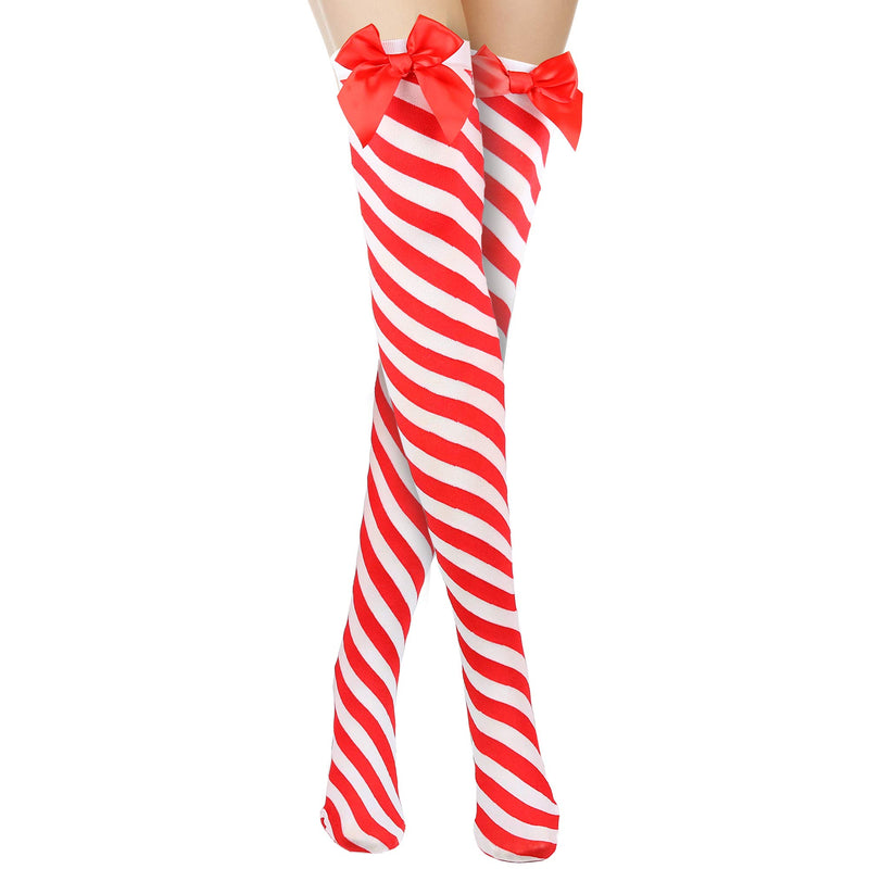 Peppermint Candy Cane Socks - Red and White Striped Christmas Holiday Candy Canes Stockings for Women and Girls