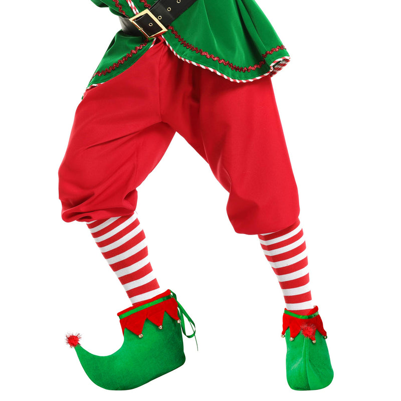 Red Green Elf Shoes - Red and Green Velvet Holiday Elf Feet Slippers with Jingle Bells for Adults and Kids